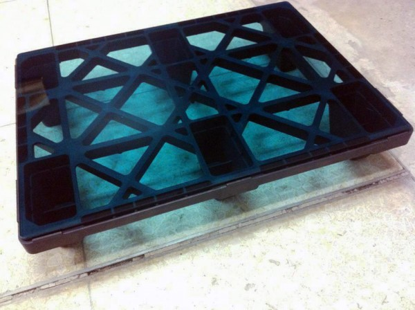 "Table designed in collaboration with Wonder inc. Materials: shipping pallet and 1/2"" blue glass"