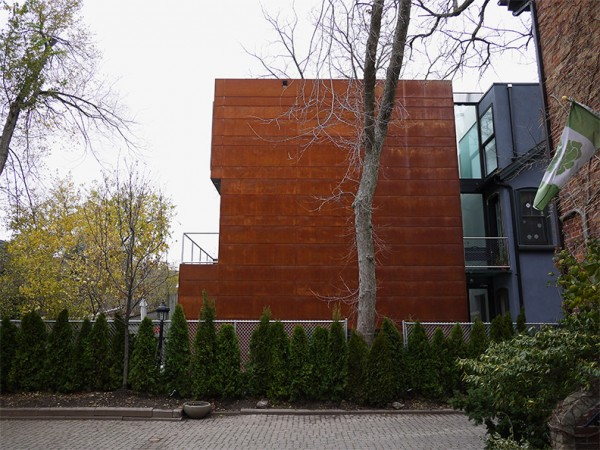 east elevation. exterior cladding: weathering steel