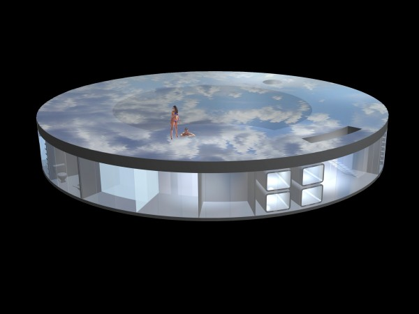 It renders the pool, hot tub and roof deck into a single reflective surface