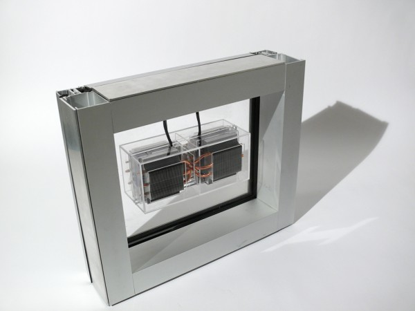 The Fresh -Air-Window employs two back-to-back Central Processing Unit cooling sinks. This configuration creates an instant Heat Recovery Ventilator